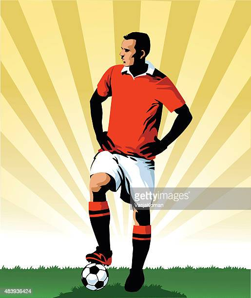 soccer player standing with the ball - professional - midfielder soccer player stock illustrations
