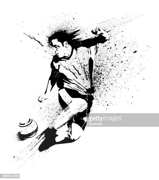 ilustrações, clipart, desenhos animados e ícones de estêncil de jogador de futebol - jogador de futebol