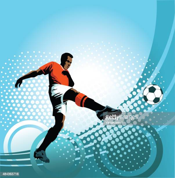 soccer player strikes perfect volley on blue background - midfielder soccer player stock illustrations