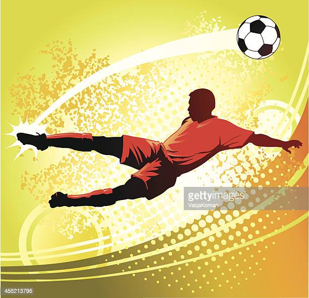 soccer player strikes perfect volley - midfielder soccer player stock illustrations