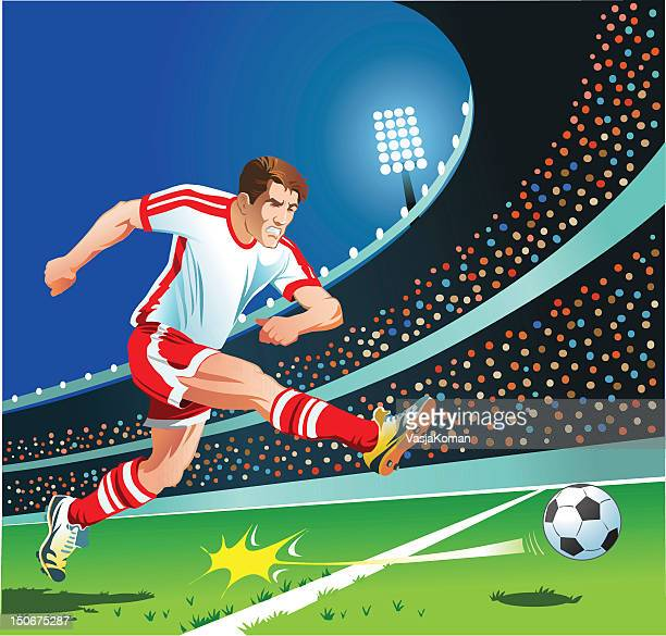 soccer player strikes the ball - midfielder soccer player stock illustrations