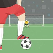 Soccer player taking penalty kick.