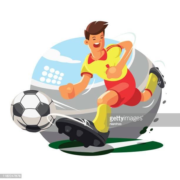 ilustraciones, imágenes clip art, dibujos animados e iconos de stock de jugador de fútbol - cancha futbol