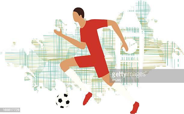 ilustraciones, imágenes clip art, dibujos animados e iconos de stock de jugador de fútbol - chuwy