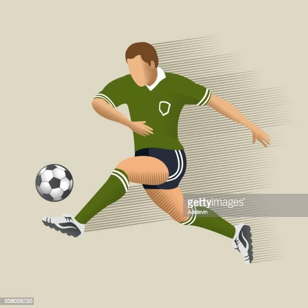 soccer player - kicking stock illustrations