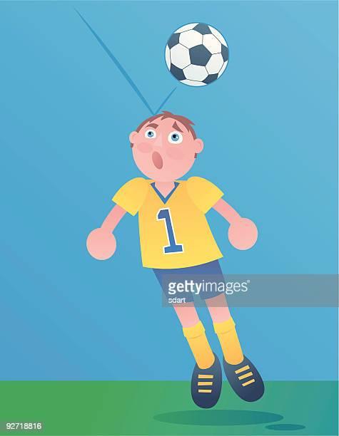 soccer player - heading the ball stock illustrations