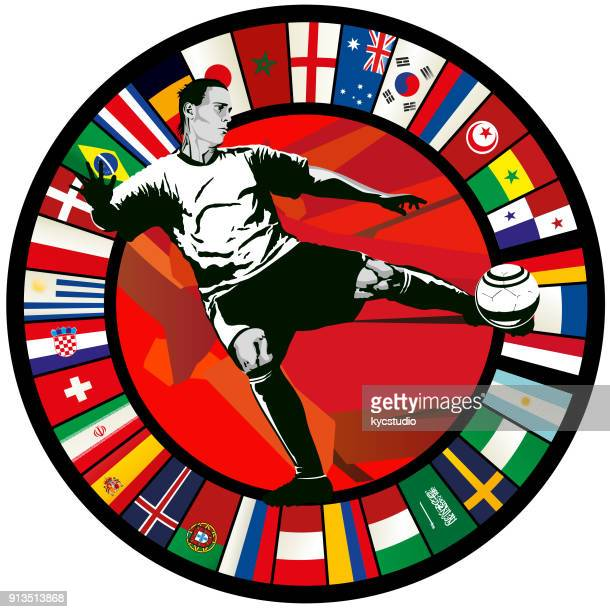 Soccer player volley agains a circle of world flags 2018