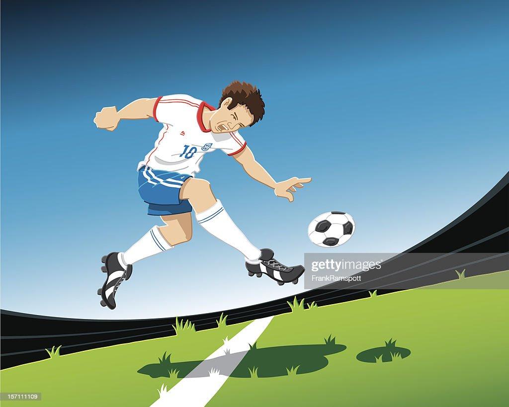 Fußballspieler Volley Aufnahme : Stock-Illustration