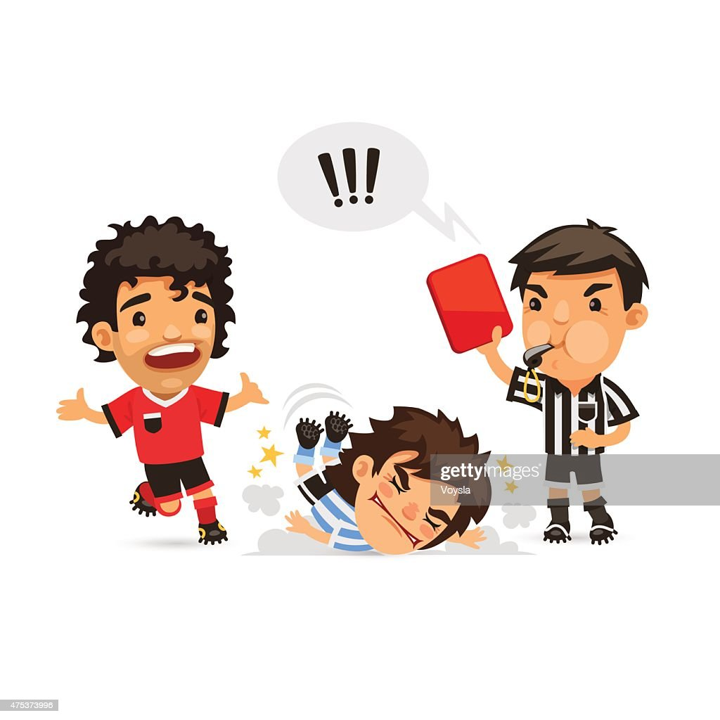 Soccer player who making tackle foul and Referee showing him