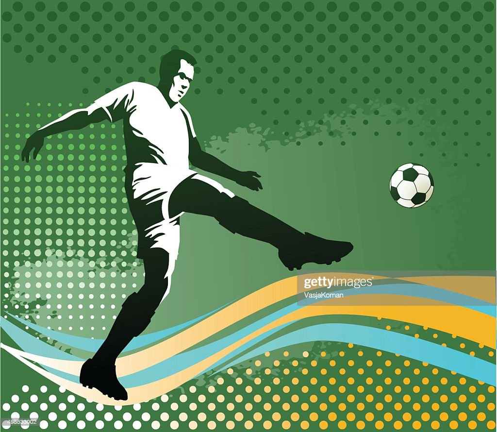 Soccer Player With Ball - Green Background