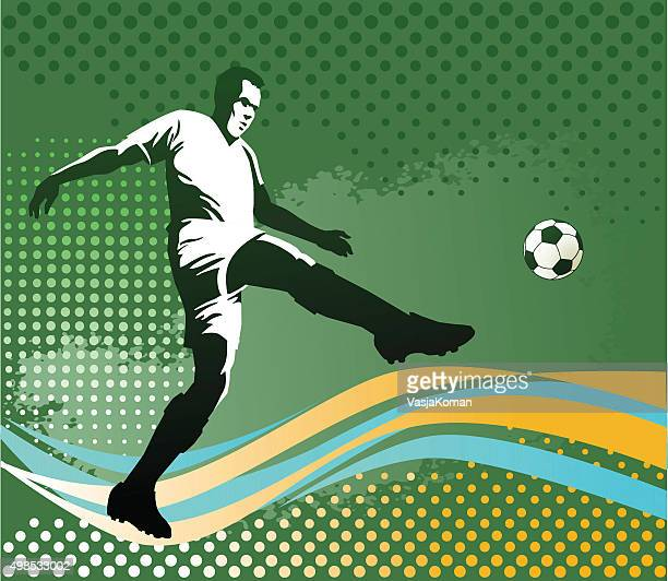 soccer player with ball - green background - midfielder soccer player stock illustrations