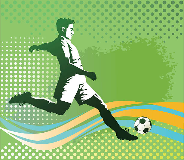 Soccer Player With Ball On Green Background Wall Art