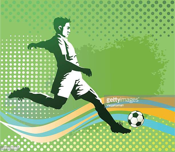 soccer player with ball on green background - midfielder soccer player stock illustrations