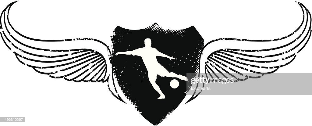 soccer player with grunge shield