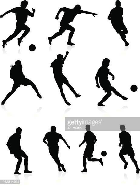 Soccer players - black silhouettes.