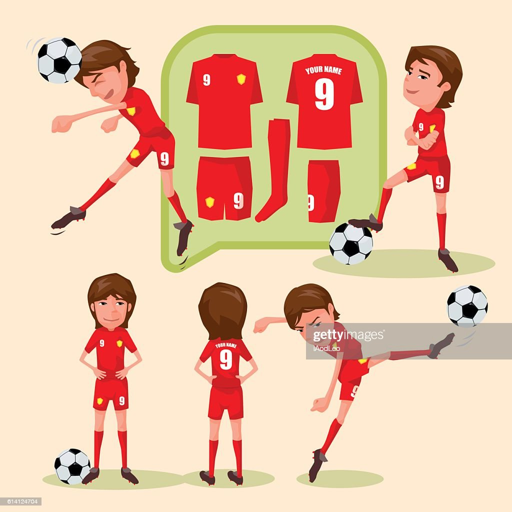 Soccer players characters showing different movement and soccer uniform.