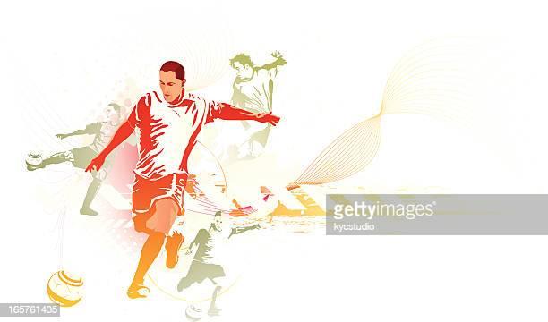 Fußballer in verschiedenen Posen