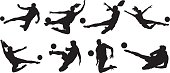 Soccer players kicking the ball