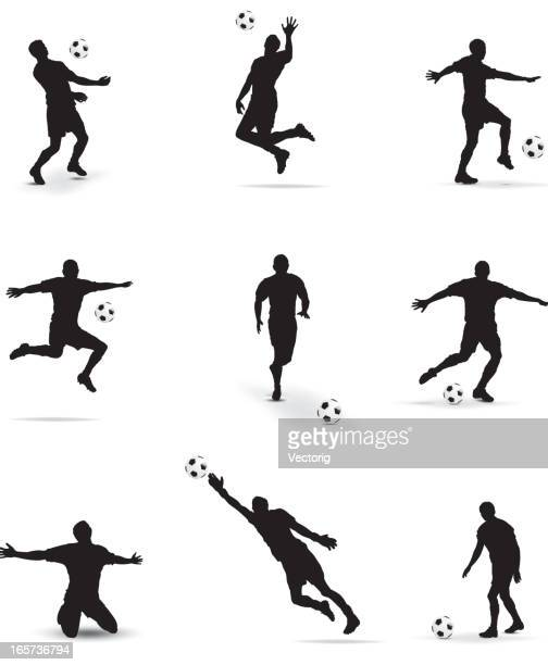 soccer players silhouette - defender soccer player stock illustrations