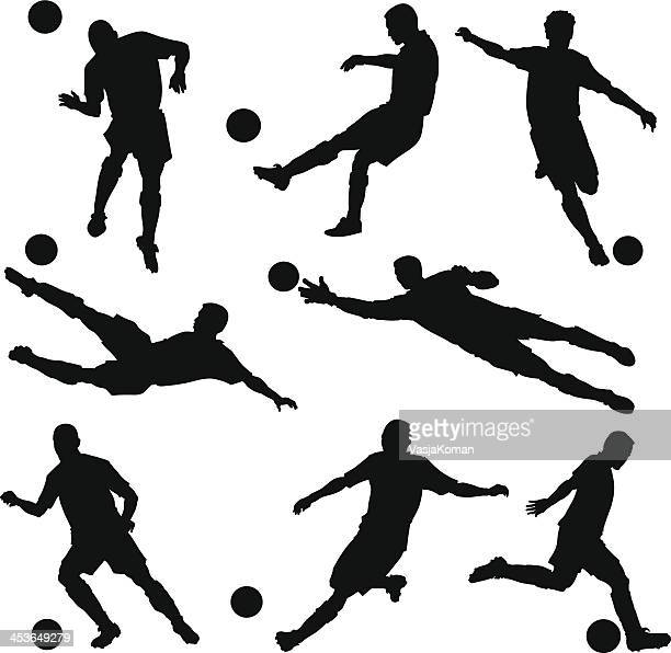 soccer players silhouettes - football player stock illustrations