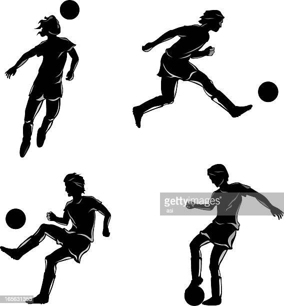 soccer players - heading the ball stock illustrations