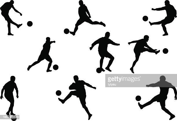 soccer players - shooting at goal stock illustrations