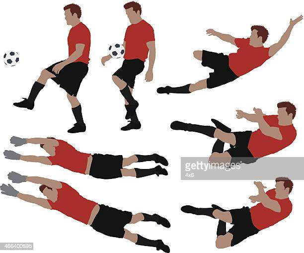 soccer players - multiple image stock illustrations, clip art, cartoons, & icons