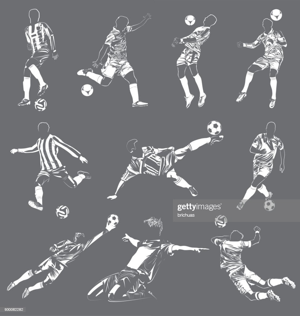 soccer(football) players vector set