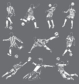 soccer(football) players vector set