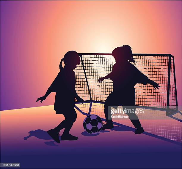 Soccer Players with Sports Ball and Goal - Little Girls