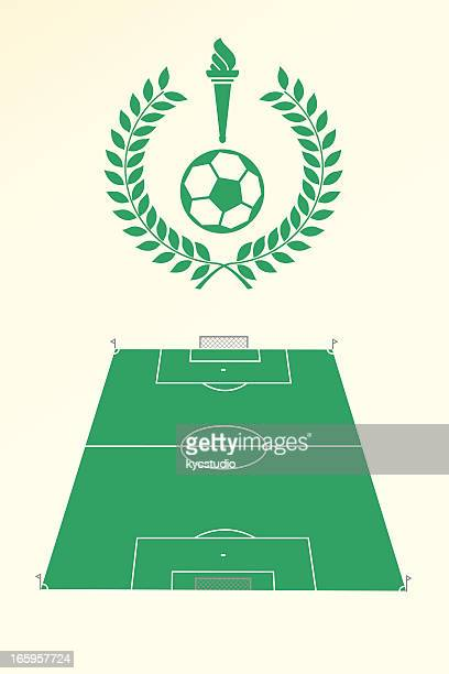 soccer poster and emblem - sport torch stock illustrations, clip art, cartoons, & icons