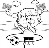 Soccer referee at a stadium coloring page