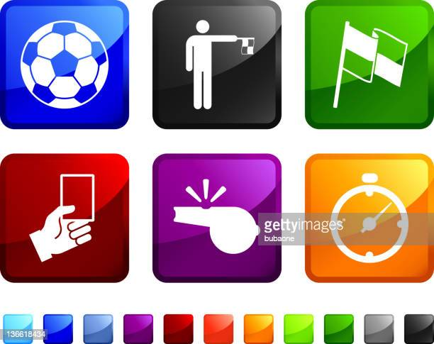 soccer referee royalty free vector icon set stickers