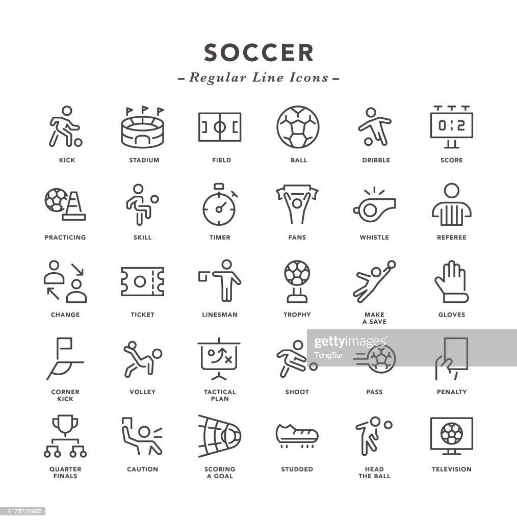 サッカー - 通常のラインアイコン : ストックイラストレーション