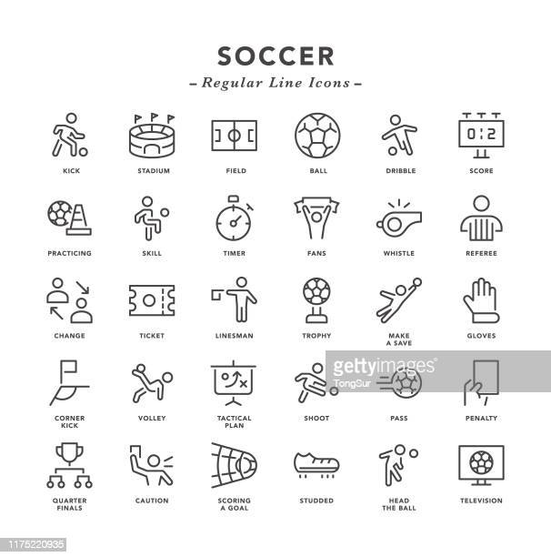 soccer - regular line icons - conversion sport stock illustrations