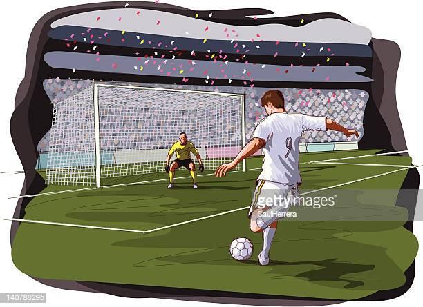 ilustraciones, imágenes clip art, dibujos animados e iconos de stock de escena de fútbol - hacer un gol