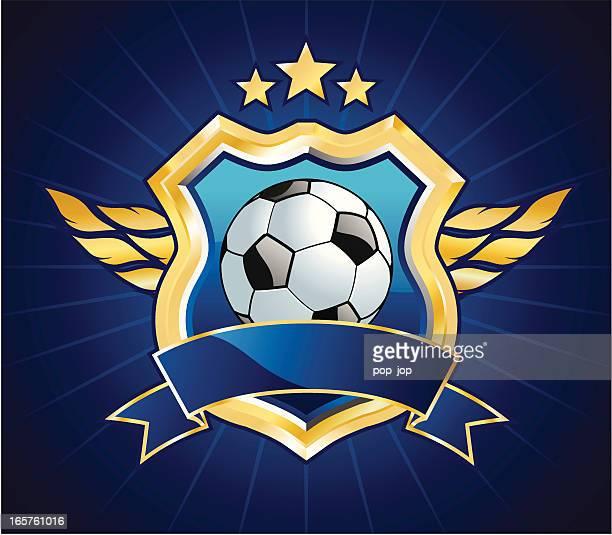 ilustrações, clipart, desenhos animados e ícones de futebol escudo - insígnia