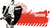 soccer shield with grunge red banner
