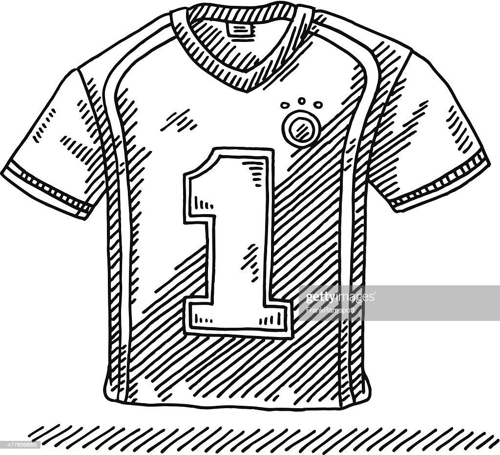 Soccer Shirt Number 1 Drawing : stock illustration