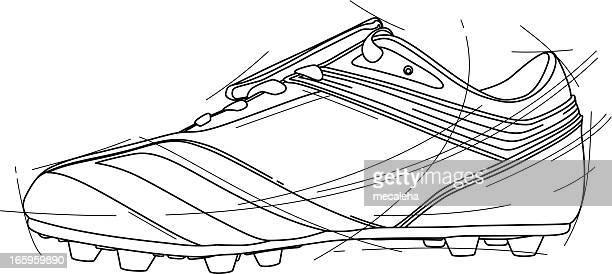 soccer shoe - studded stock illustrations