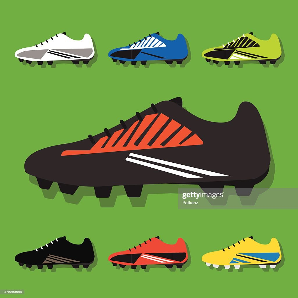 Soccer shoes icons set with shadow