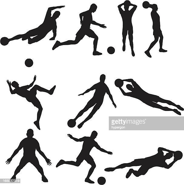 soccer silhouette collection (vector+jpg) - goalkeeper stock illustrations