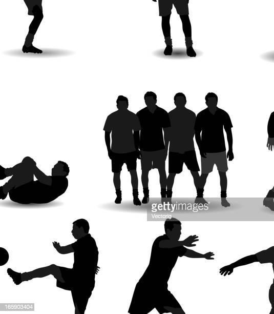 soccer silhouette - heading the ball stock illustrations