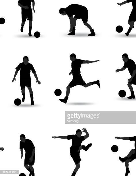 soccer silhouette - kicking stock illustrations
