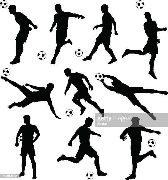 soccer silhouettes - football player stock illustrations, clip art, cartoons, & icons