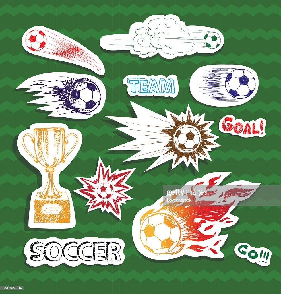 Soccer sketch stickers