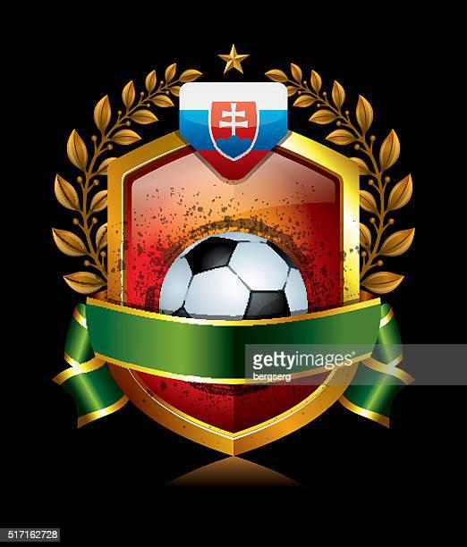 soccer slovakia icon with laurel wreath - sports organization stock illustrations, clip art, cartoons, & icons