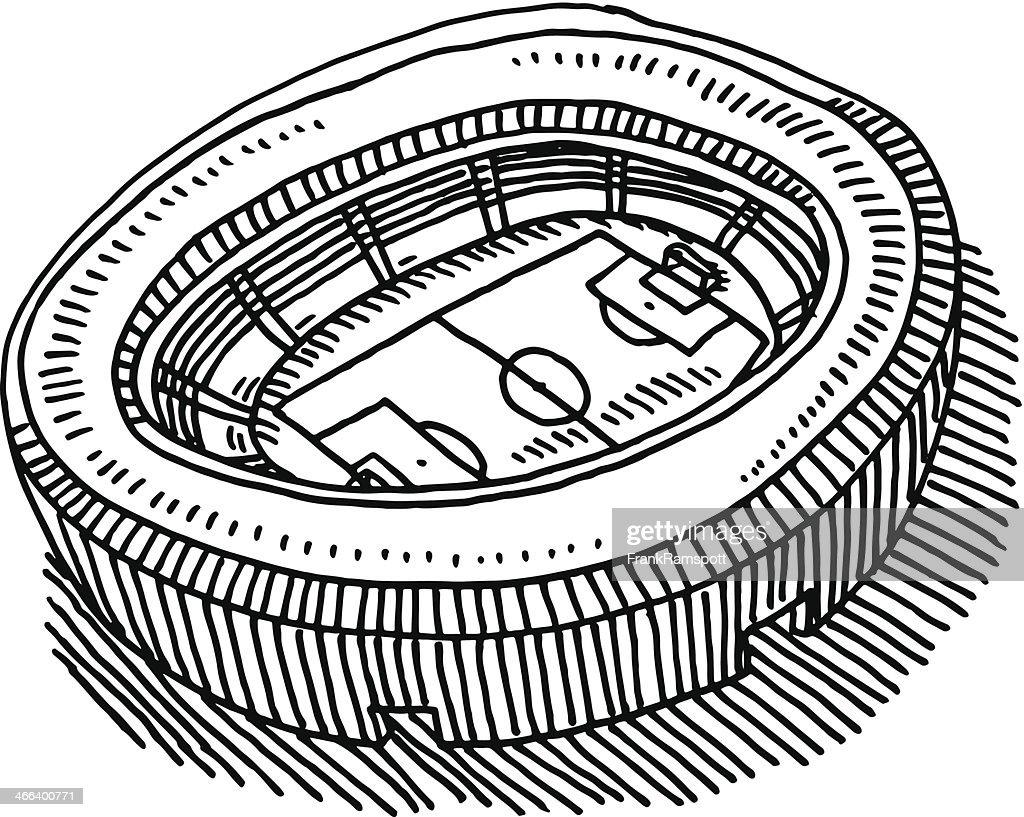 Fußballstadion Luftaufnahme Zeichnung : Stock-Illustration