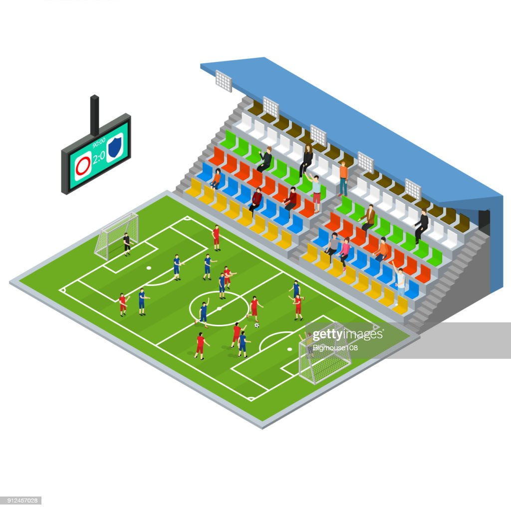 Soccer Stadium Competition Isometric View. Vector