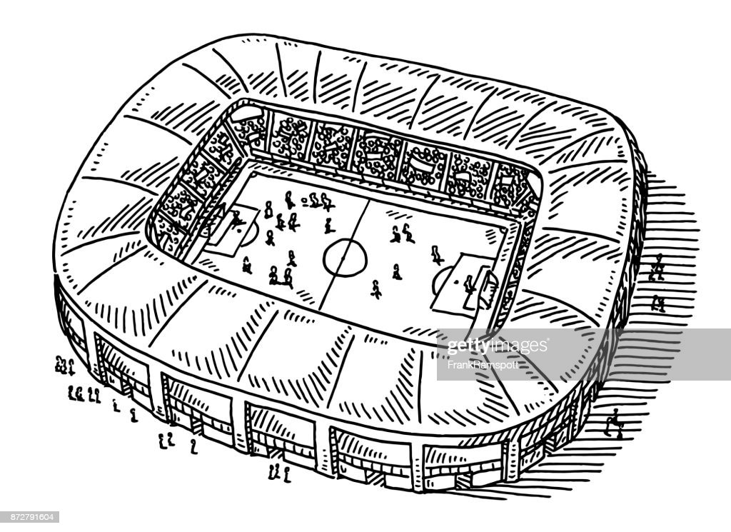 Soccer Stadium Drawing : stock illustration